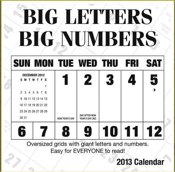 Calendar Large Print : More large print calendars and planner