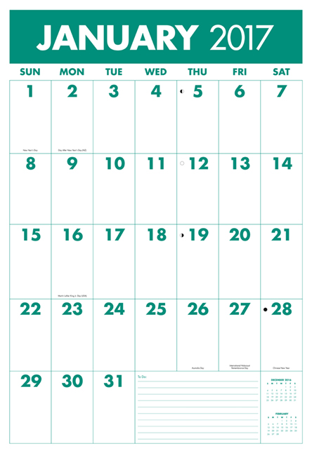Extra Large Print Calendar - best wall calendar for people with low vision, with large fonts, bold letters providing high contrast