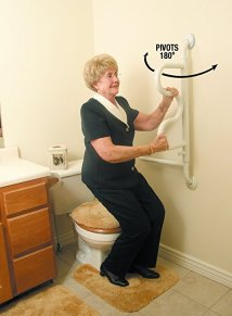 S-curve white grab bars helps you stand easily and safely