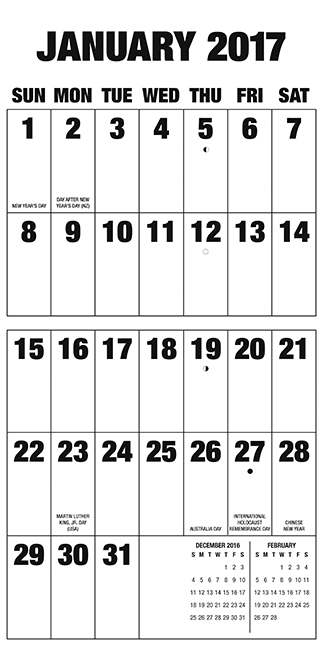 Inside view of extra large print calendar for 2017