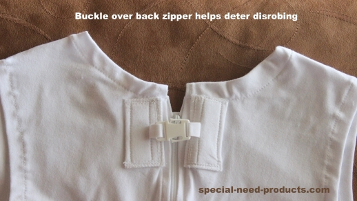 Optional Standard Buckle over Zipper of onesie bodysuit for extra level of protection from clothing removal