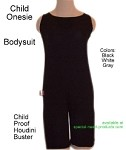Bodysuit Onesie for adults and children features back zipper and optional lock over zipper.