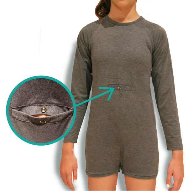 Grey Long Sleeve Onesie Bodysuit with gTube access