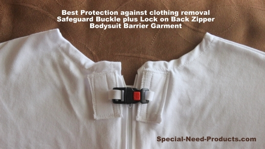 Optional Locking Safeguard Buckle over Zipper of onesie bodysuit for triple level protection