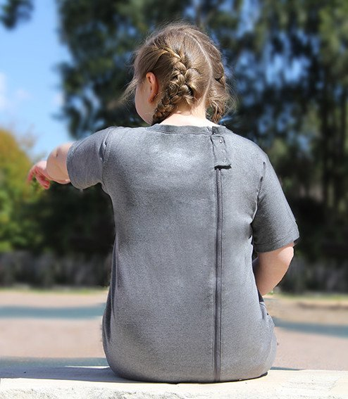 The side offset back zipper on these comfortable onesie bodysuits are ideal for both day and night wear. Autism Clothing for children and adults -for stopping clothing removal or fecal smearing