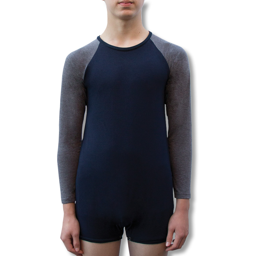 Navy / Grey Long Sleeve Onesie for Children and Adults