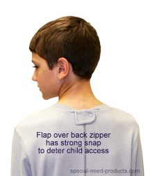 Back Zip Pajamas with zipper flap - grey