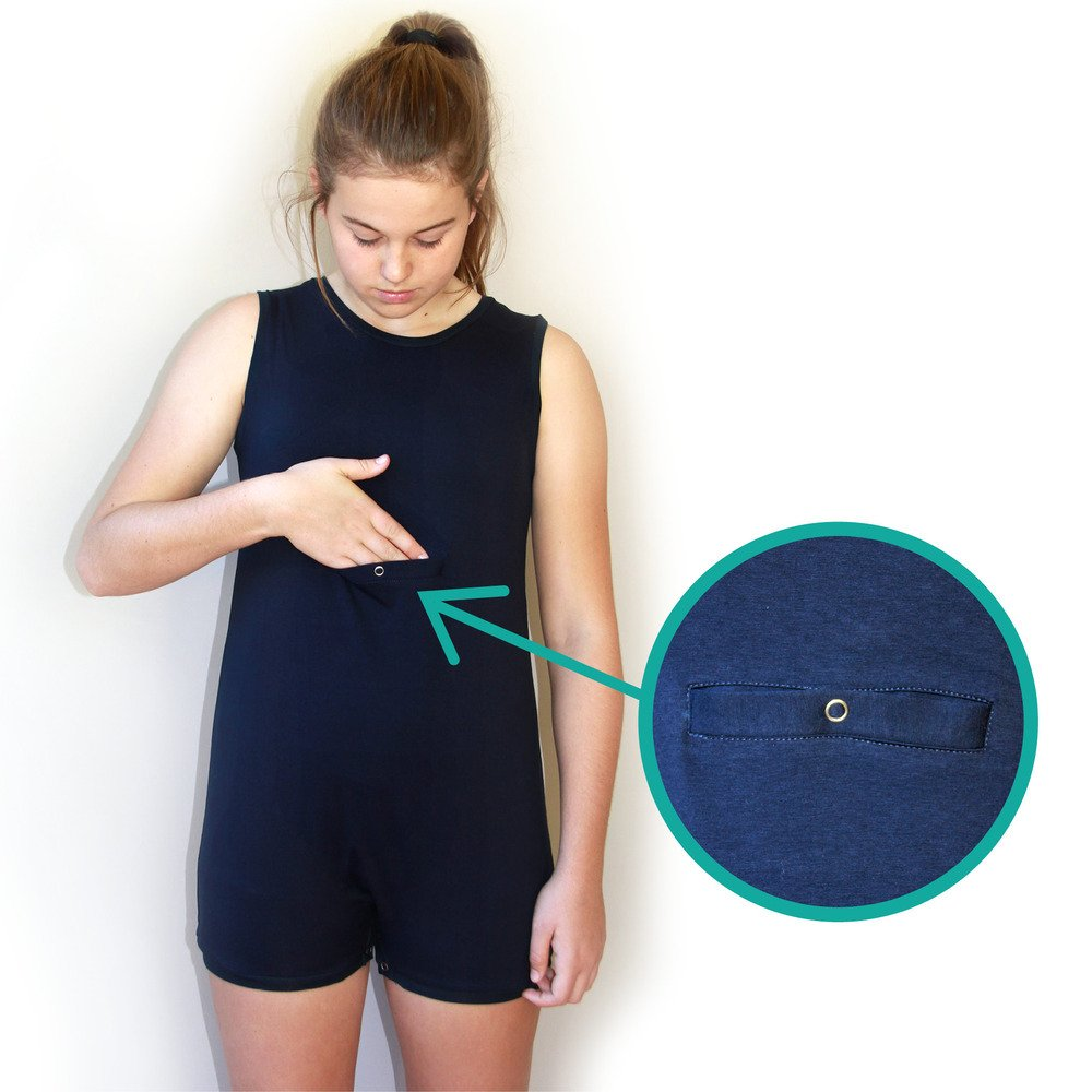 Bodysuit with access pocket for gTube or PEG system
