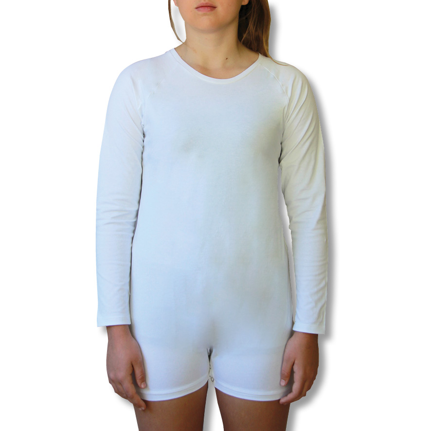 White Long Sleeve Onesie Bodysuit for children and adults